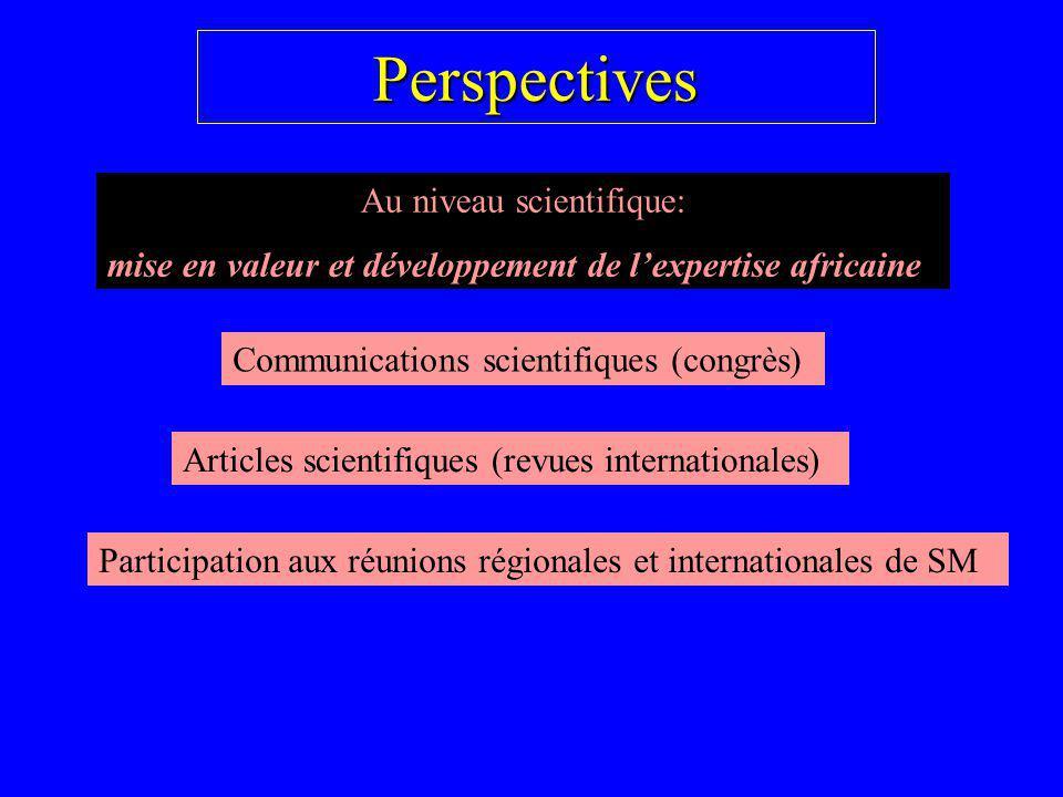 Perspectives Au niveau scientifique: mise en valeur et développement de lexpertise africaine Communications scientifiques (congrès) Articles scientifi
