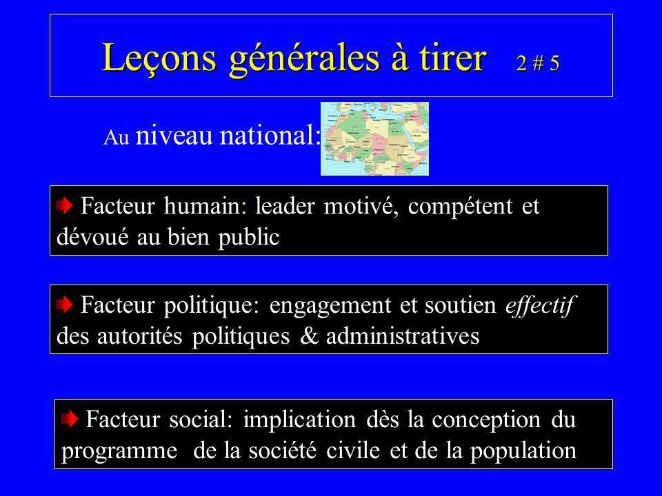 Leçons générales à tirer 2 # 5 Facteur humain: leader motivé, compétent et dévoué au bien public Au niveau national: Facteur politique: engagement et