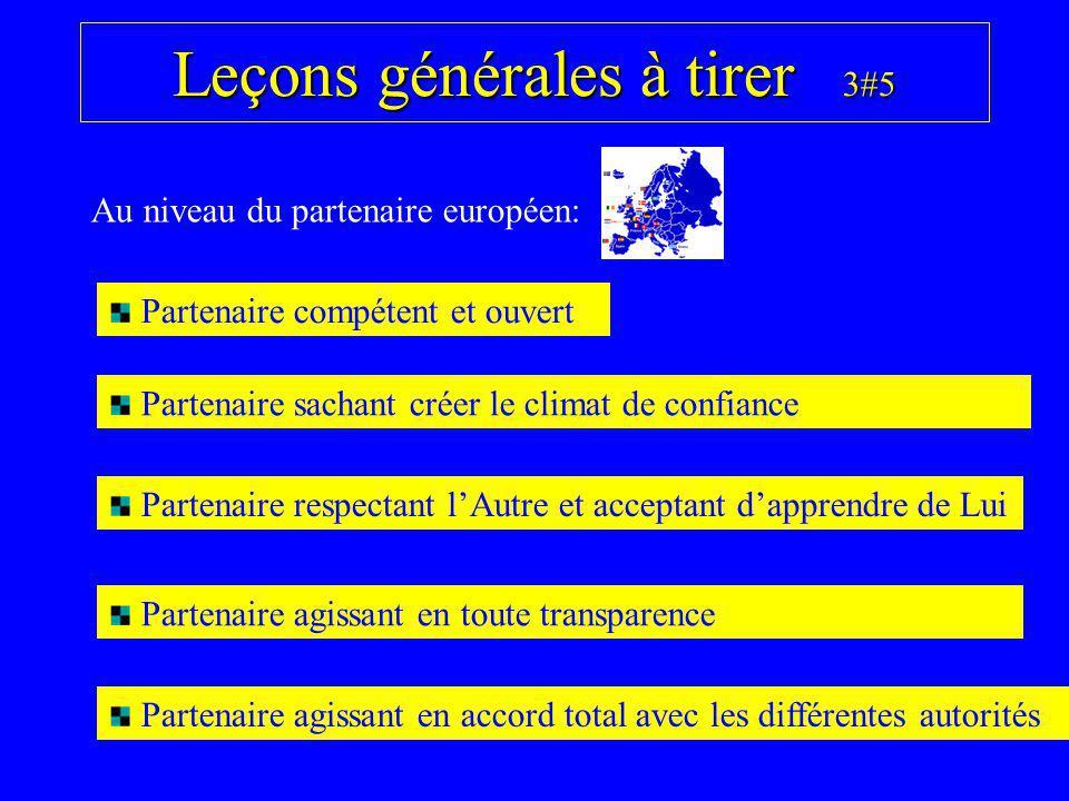 Leçons générales à tirer 3#5 Au niveau du partenaire européen: Partenaire compétent et ouvert Partenaire sachant créer le climat de confiance Partenai