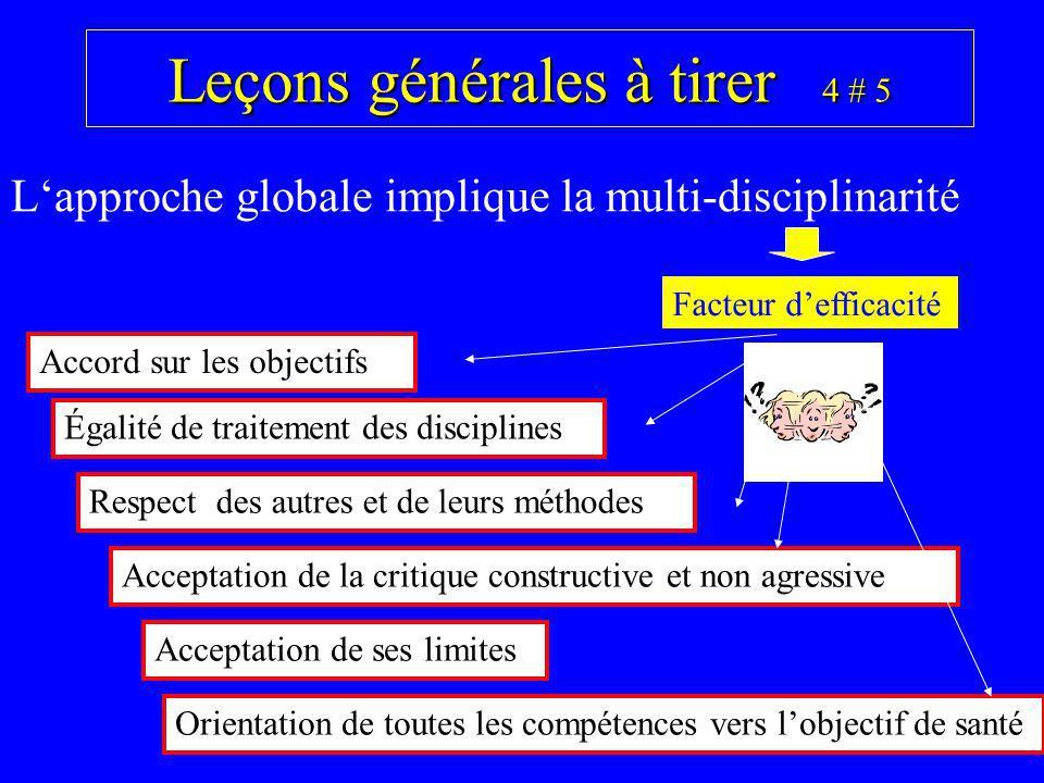 Leçons générales à tirer 4 # 5 Lapproche globale implique la multi-disciplinarité Facteur defficacité Égalité de traitement des disciplines Respect de