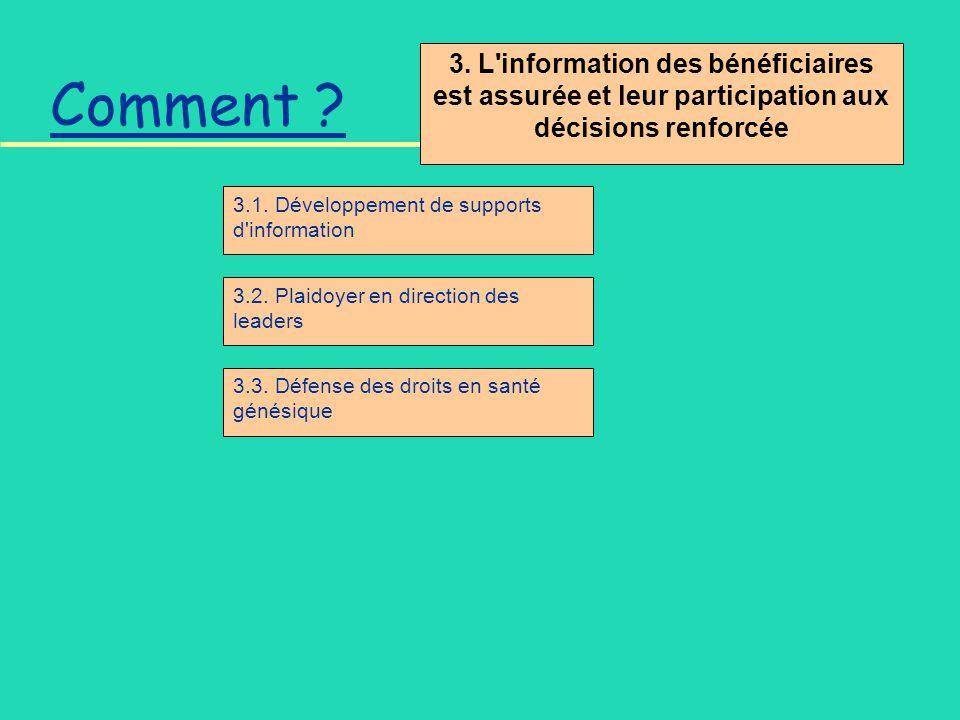 3. L'information des bénéficiaires est assurée et leur participation aux décisions renforcée Comment ? 3.1. Développement de supports d'information 3.