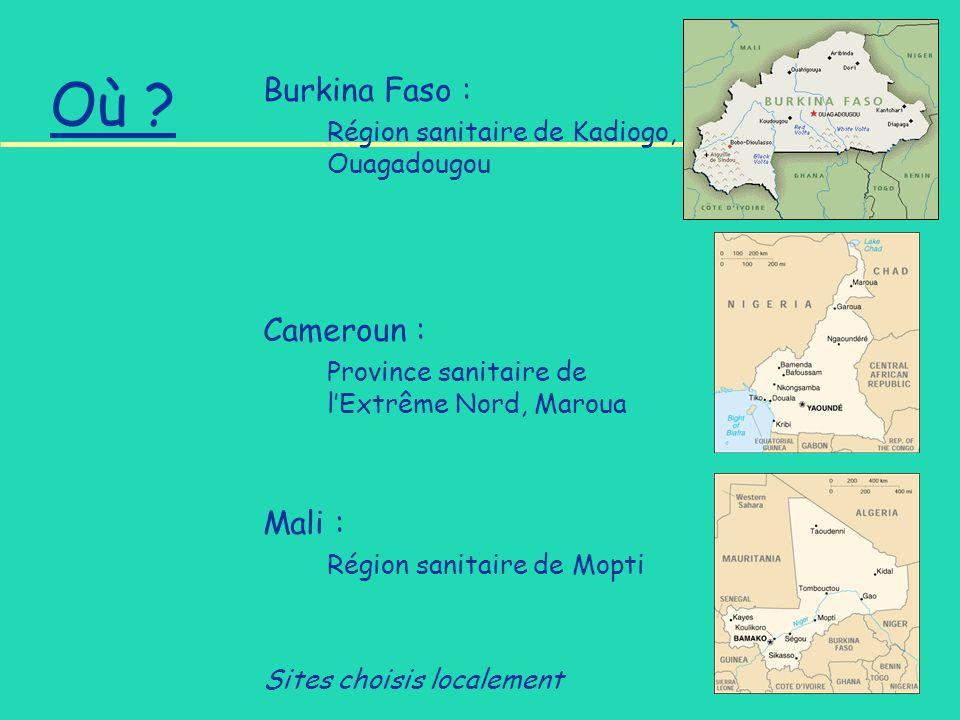 Où ? Burkina Faso : Région sanitaire de Kadiogo, Ouagadougou Cameroun : Province sanitaire de lExtrême Nord, Maroua Mali : Région sanitaire de Mopti S