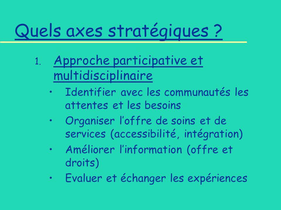 Quels axes stratégiques . 1.