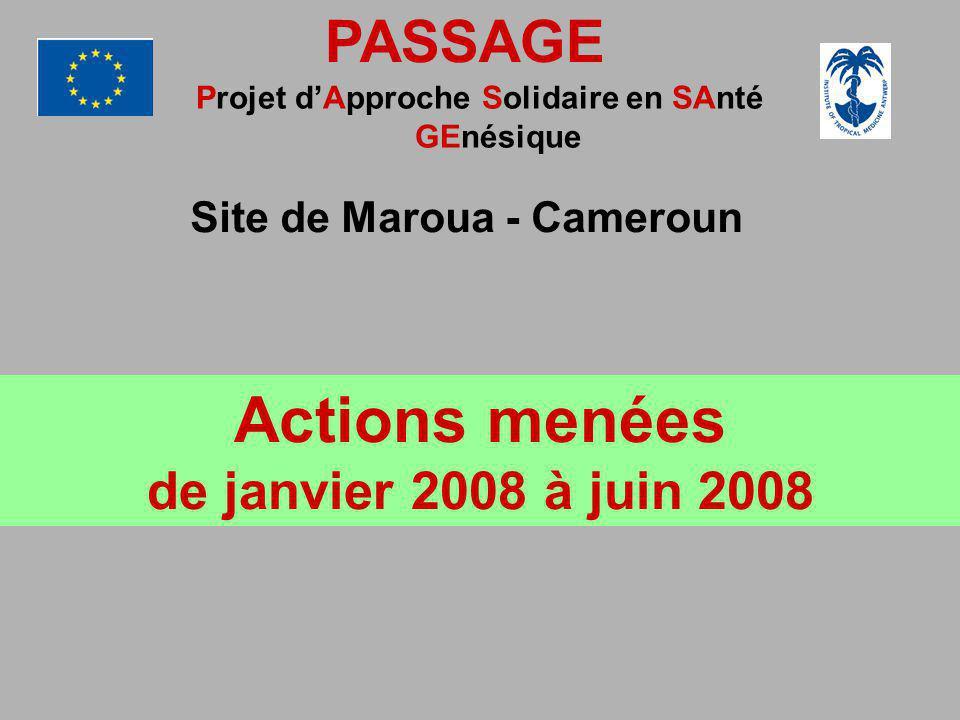 PASSAGE Projet dApproche Solidaire en SAnté GEnésique Site de Maroua - Cameroun Actions menées de janvier 2008 à juin 2008