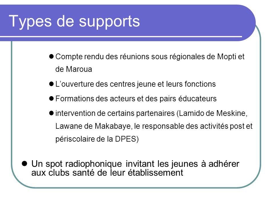 Types de supports Compte rendu des réunions sous régionales de Mopti et de Maroua Louverture des centres jeune et leurs fonctions Formations des acteu