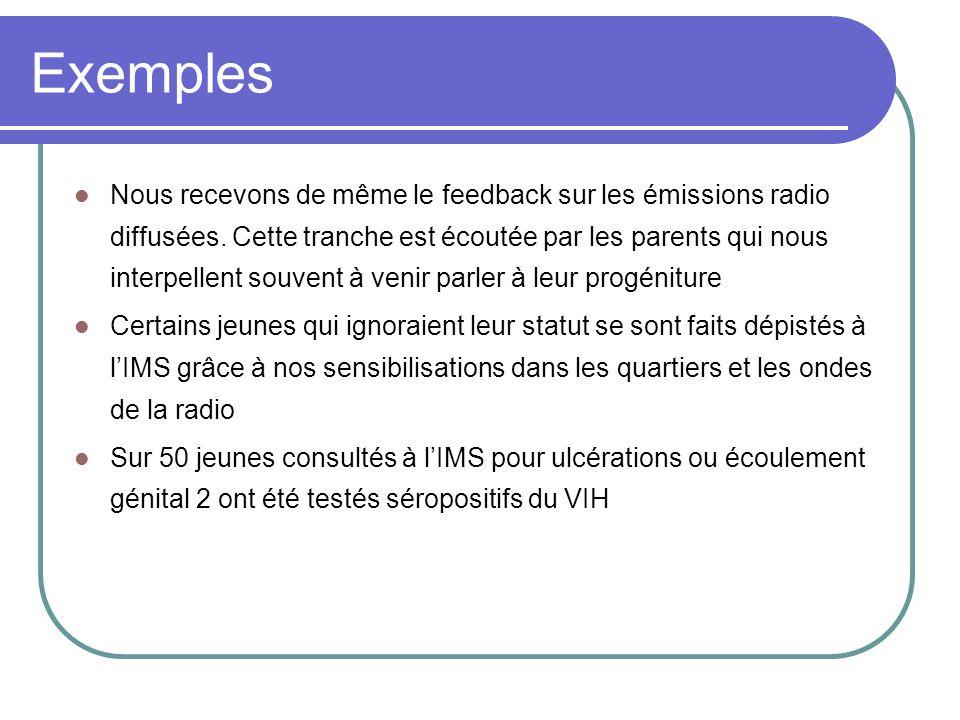 Exemples Nous recevons de même le feedback sur les émissions radio diffusées. Cette tranche est écoutée par les parents qui nous interpellent souvent