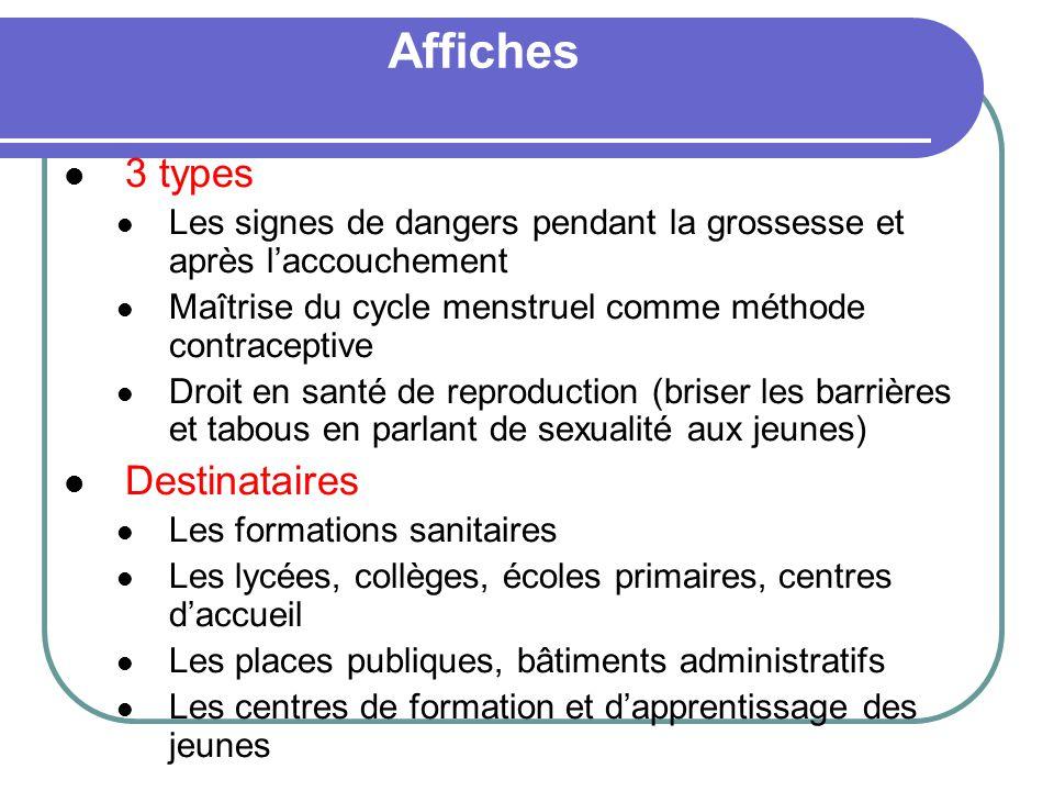 Affiches 3 types Les signes de dangers pendant la grossesse et après laccouchement Maîtrise du cycle menstruel comme méthode contraceptive Droit en sa