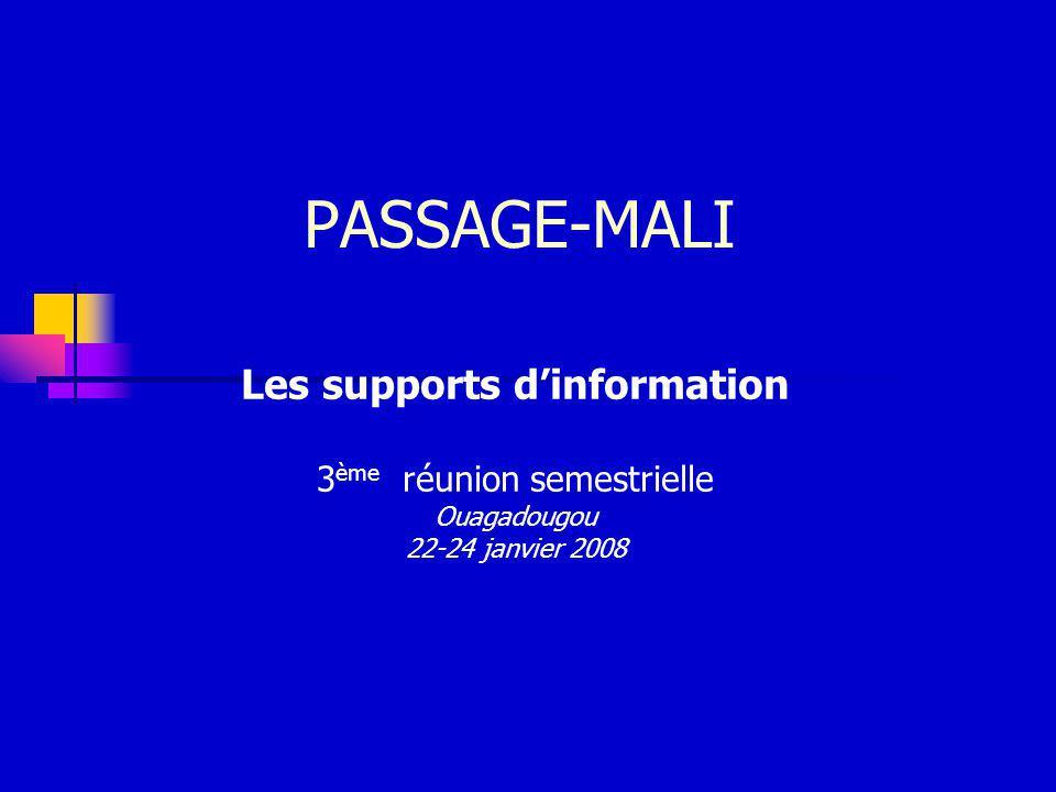 PASSAGE-MALI Les supports dinformation 3 ème réunion semestrielle Ouagadougou 22-24 janvier 2008