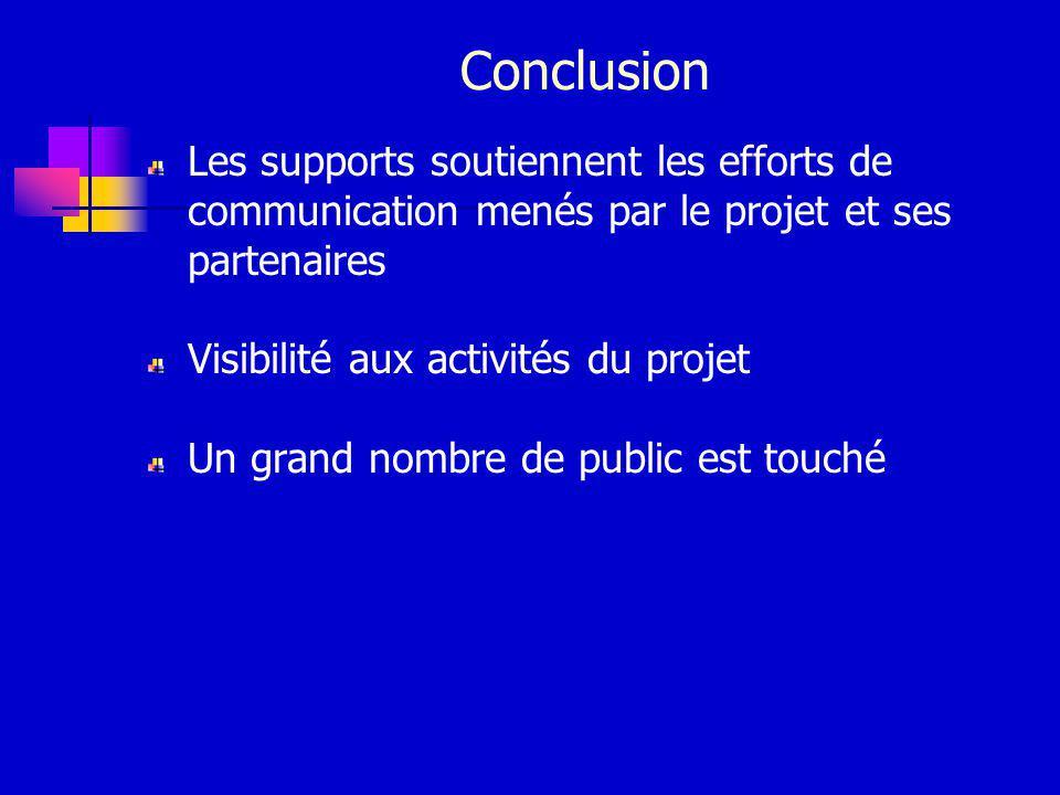 Conclusion Les supports soutiennent les efforts de communication menés par le projet et ses partenaires Visibilité aux activités du projet Un grand nombre de public est touché