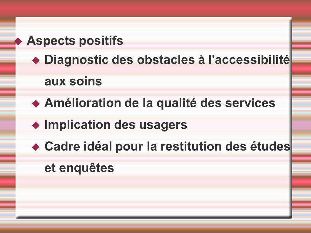 Aspects positifs Diagnostic des obstacles à l accessibilité aux soins Amélioration de la qualité des services Implication des usagers Cadre idéal pour la restitution des études et enquêtes