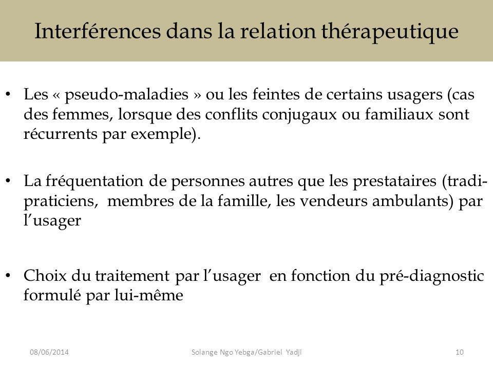 Interférences dans la relation thérapeutique Les « pseudo-maladies » ou les feintes de certains usagers (cas des femmes, lorsque des conflits conjugaux ou familiaux sont récurrents par exemple).