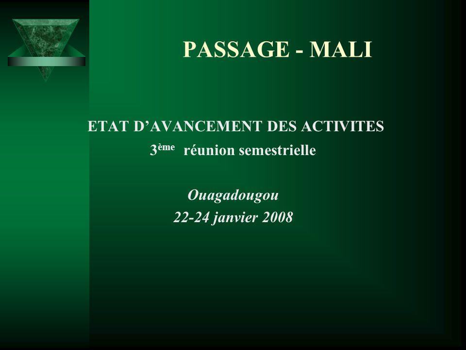 PASSAGE - MALI ETAT DAVANCEMENT DES ACTIVITES 3 ème réunion semestrielle Ouagadougou 22-24 janvier 2008