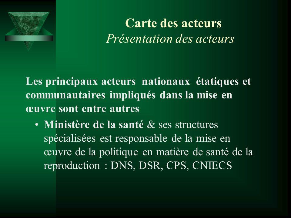 Carte des acteurs Présentation des acteurs Les principaux acteurs nationaux étatiques et communautaires impliqués dans la mise en œuvre sont entre aut