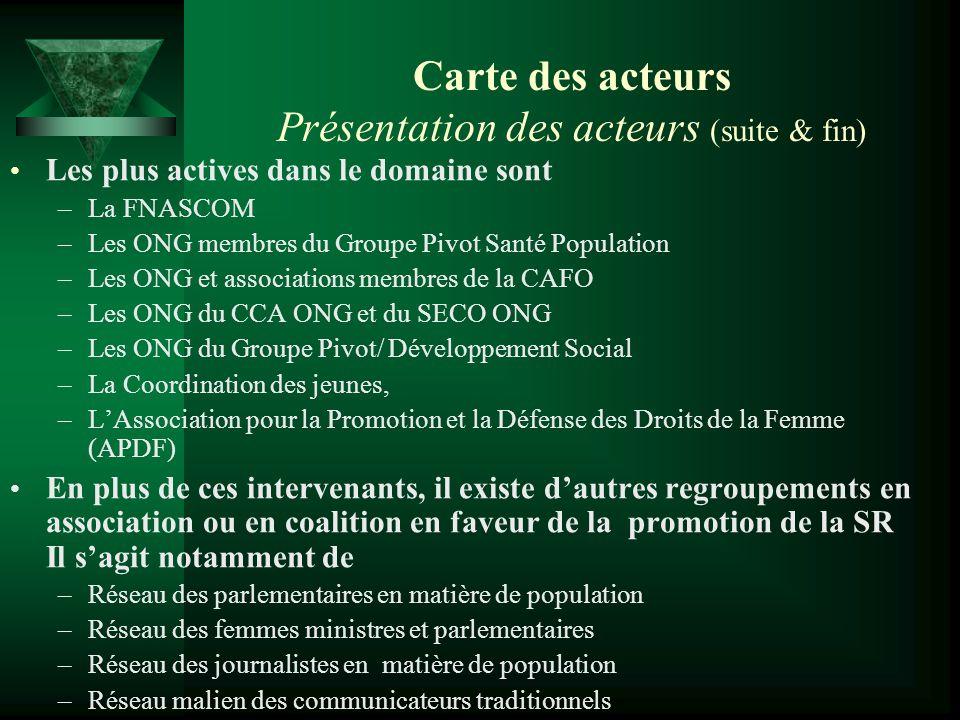 Carte des acteurs Présentation des acteurs (suite & fin) Les plus actives dans le domaine sont –La FNASCOM –Les ONG membres du Groupe Pivot Santé Popu