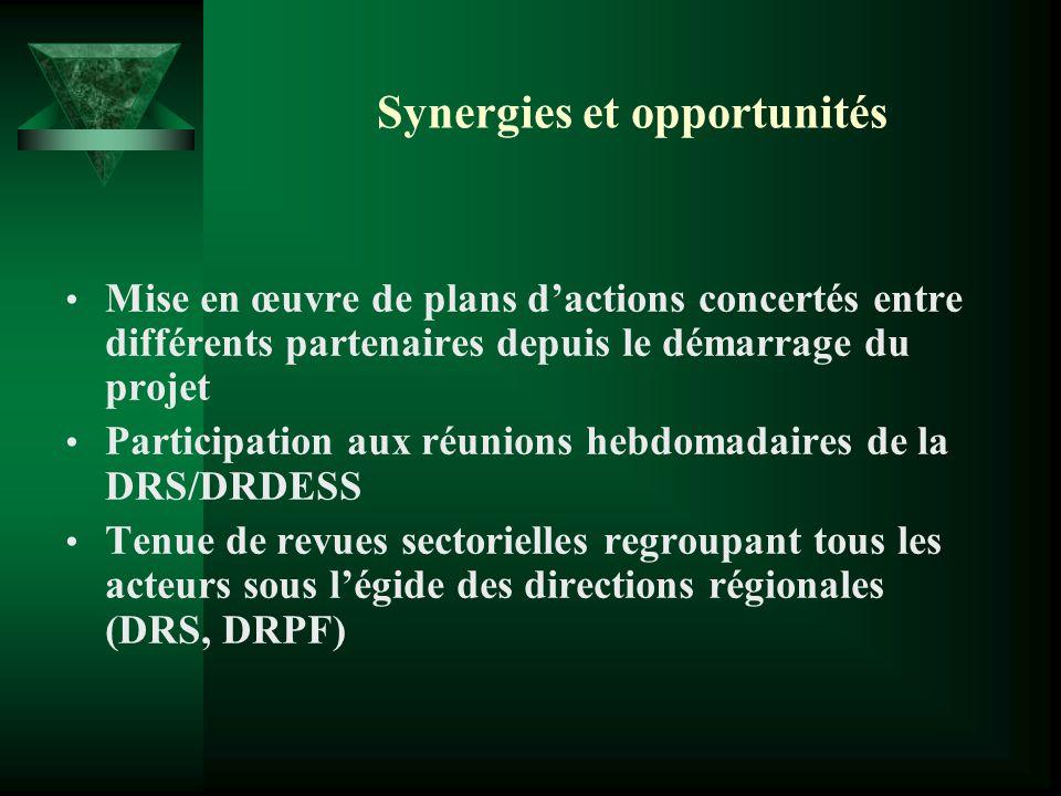 Synergies et opportunités Mise en œuvre de plans dactions concertés entre différents partenaires depuis le démarrage du projet Participation aux réuni