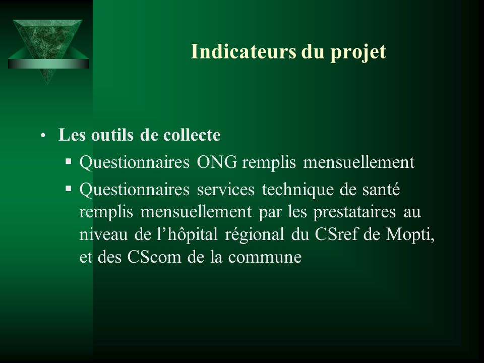 Indicateurs du projet Les outils de collecte Questionnaires ONG remplis mensuellement Questionnaires services technique de santé remplis mensuellement