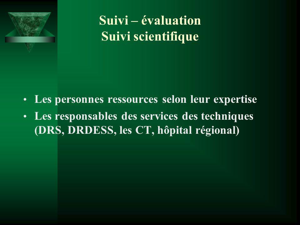 Suivi – évaluation Suivi scientifique Les personnes ressources selon leur expertise Les responsables des services des techniques (DRS, DRDESS, les CT,