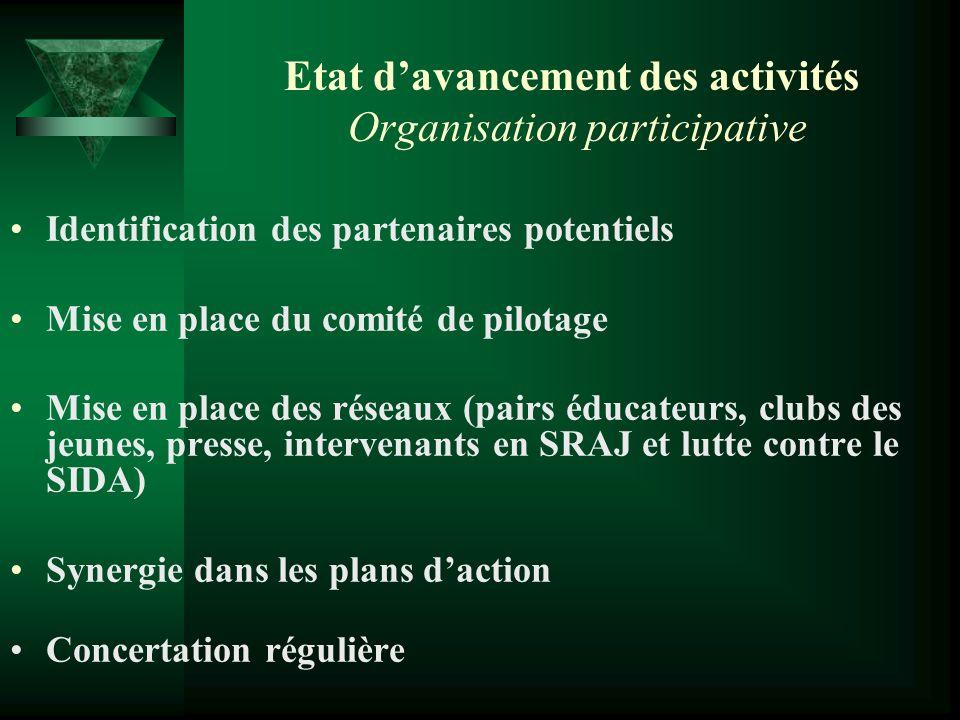 Etat davancement des activités Organisation participative Identification des partenaires potentiels Mise en place du comité de pilotage Mise en place