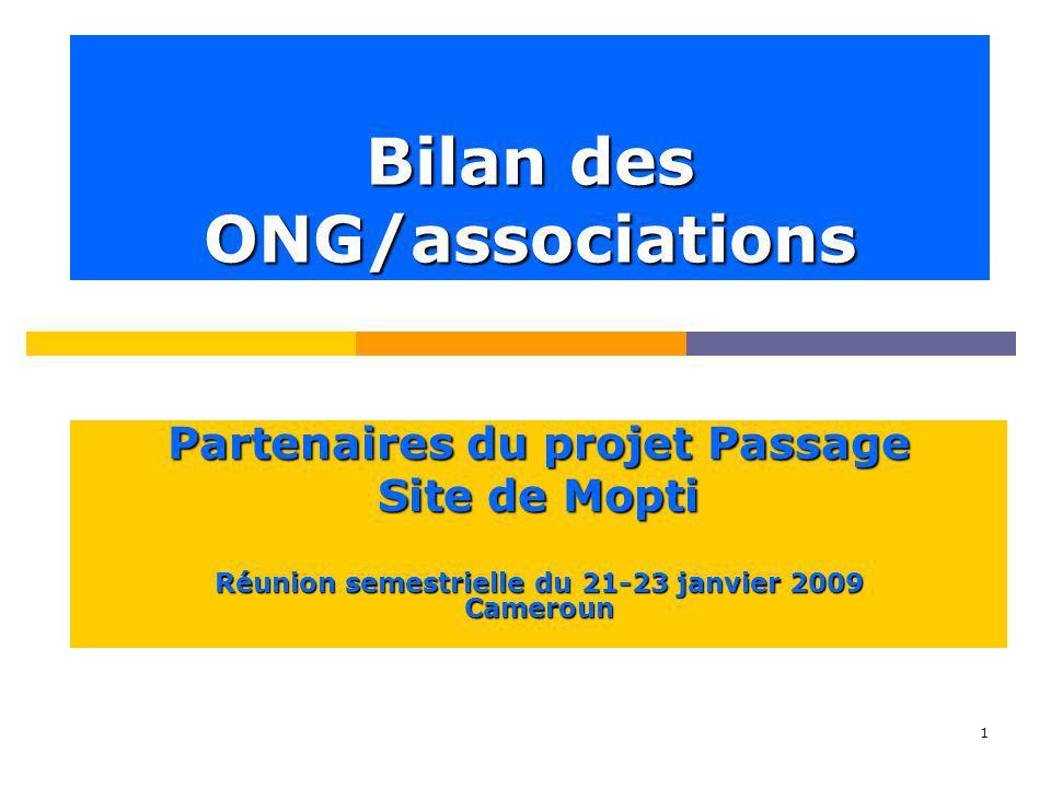 1 Bilan des ONG/associations Partenaires du projet Passage Site de Mopti Réunion semestrielle du 21-23 janvier 2009 Cameroun