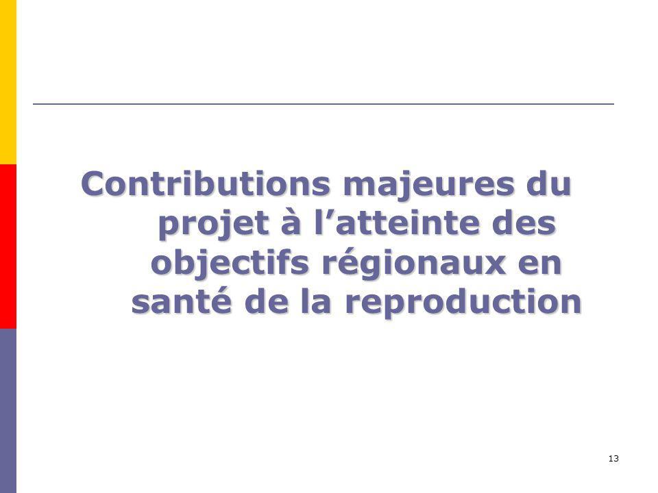 13 Contributions majeures du projet à latteinte des objectifs régionaux en santé de la reproduction