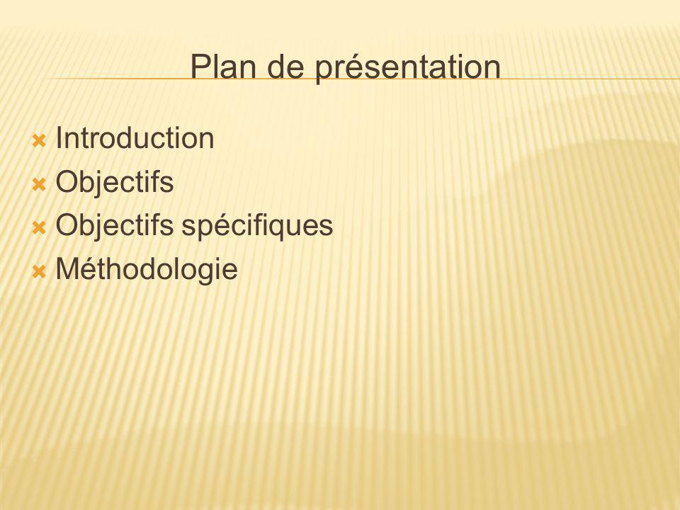 Plan de présentation Introduction Objectifs Objectifs spécifiques Méthodologie