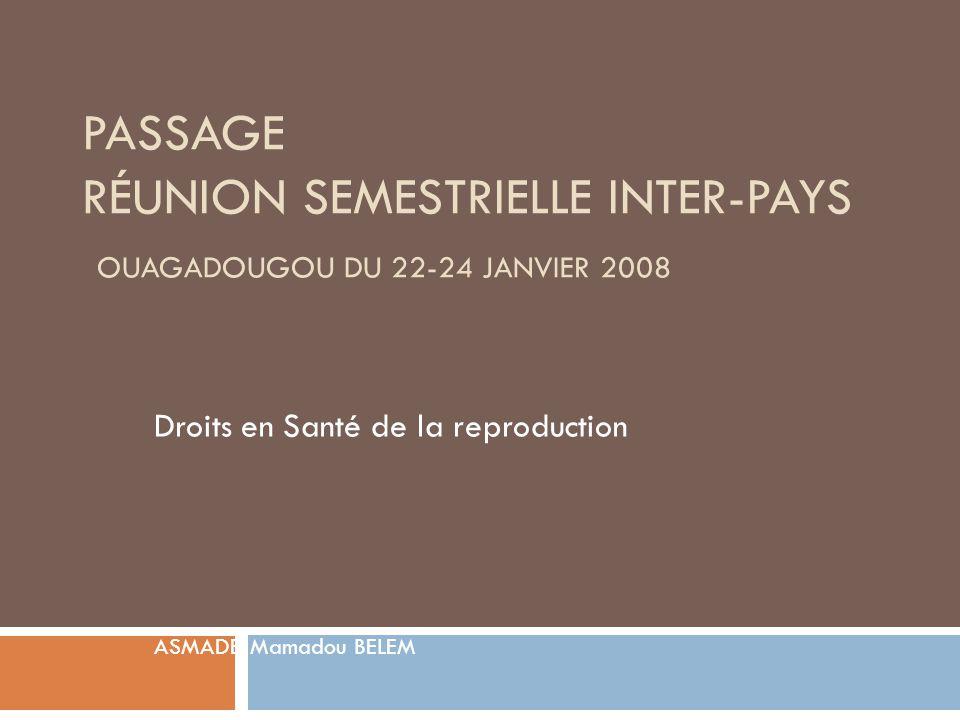 PASSAGE RÉUNION SEMESTRIELLE INTER-PAYS OUAGADOUGOU DU 22-24 JANVIER 2008 Droits en Santé de la reproduction ASMADE: Mamadou BELEM