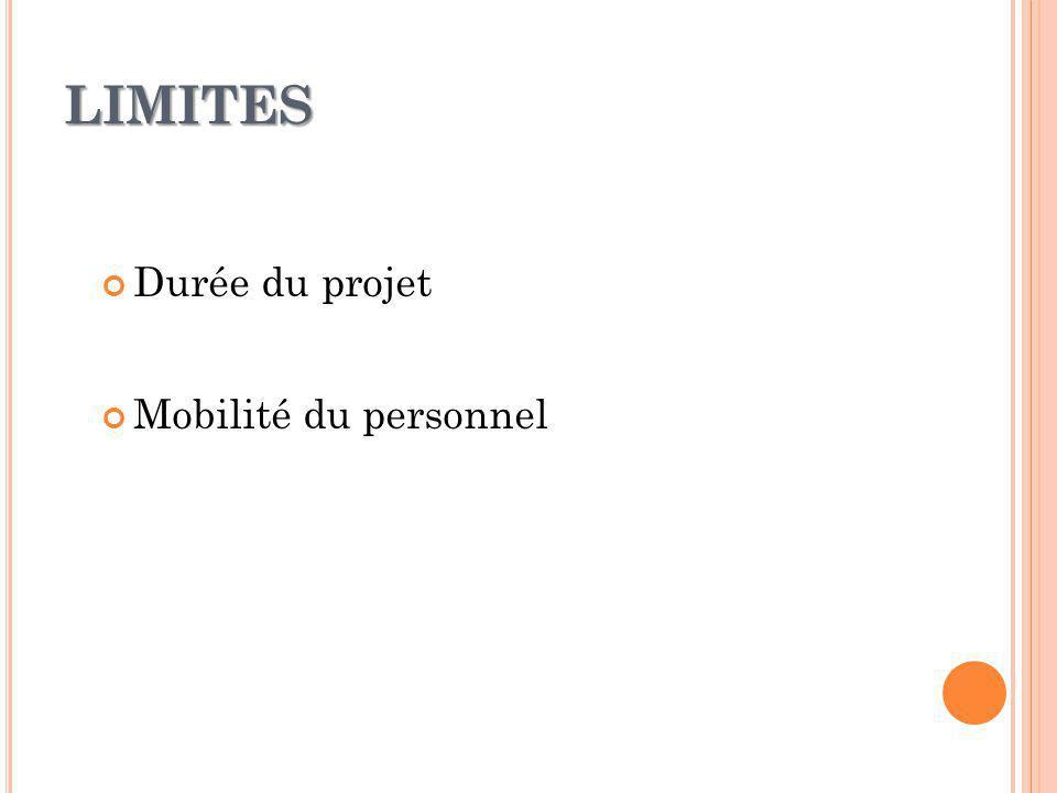 LIMITES Durée du projet Mobilité du personnel