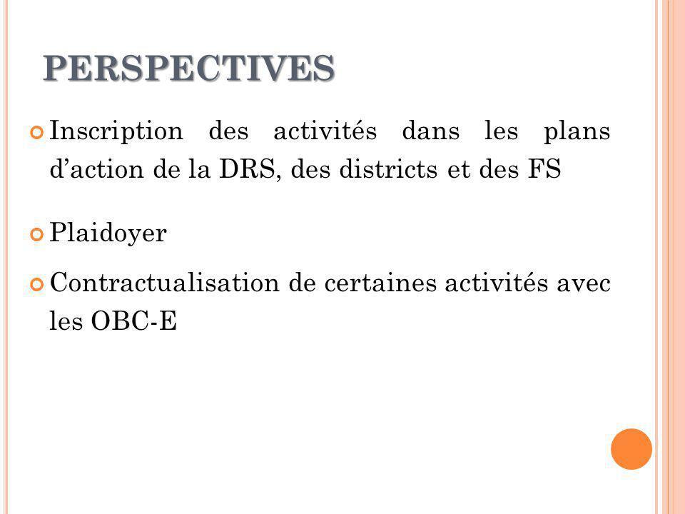 PERSPECTIVES Inscription des activités dans les plans daction de la DRS, des districts et des FS Plaidoyer Contractualisation de certaines activités avec les OBC-E