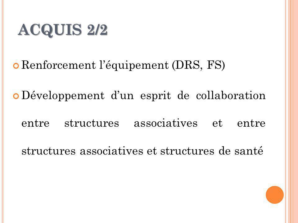 ACQUIS 2/2 Renforcement léquipement (DRS, FS) Développement dun esprit de collaboration entre structures associatives et entre structures associatives et structures de santé