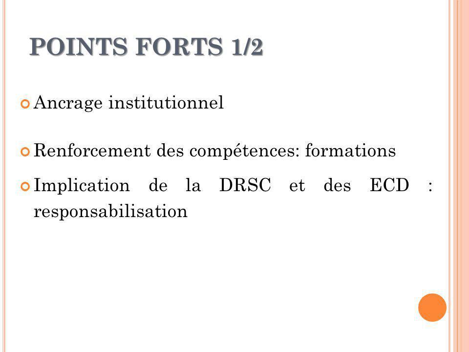 POINTS FORTS 1/2 Ancrage institutionnel Renforcement des compétences: formations Implication de la DRSC et des ECD : responsabilisation