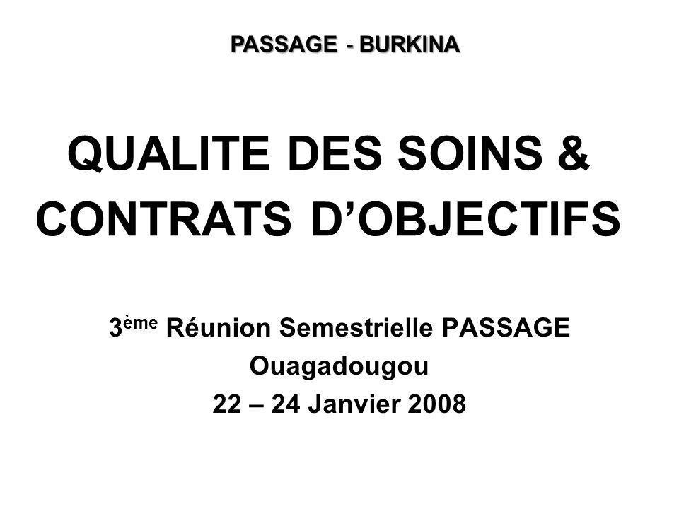 QUALITE DES SOINS & CONTRATS DOBJECTIFS 3 ème Réunion Semestrielle PASSAGE Ouagadougou 22 – 24 Janvier 2008 PASSAGE - BURKINA