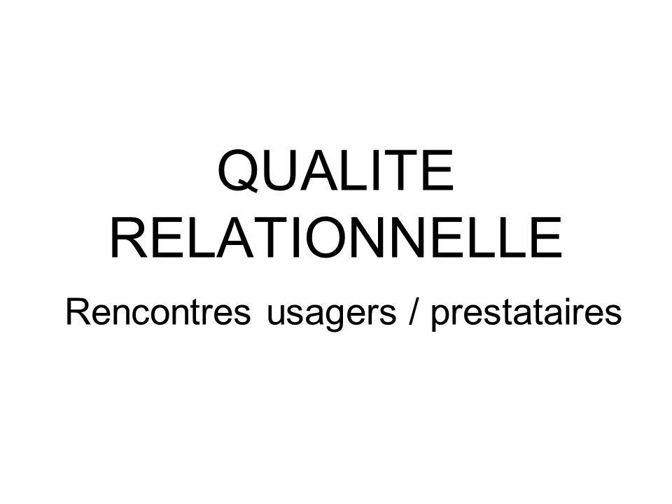 QUALITE RELATIONNELLE Rencontres usagers / prestataires