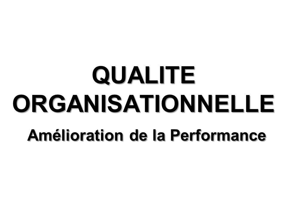 QUALITE ORGANISATIONNELLE Amélioration de la Performance