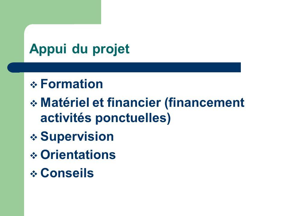 Appui du projet Formation Matériel et financier (financement activités ponctuelles) Supervision Orientations Conseils