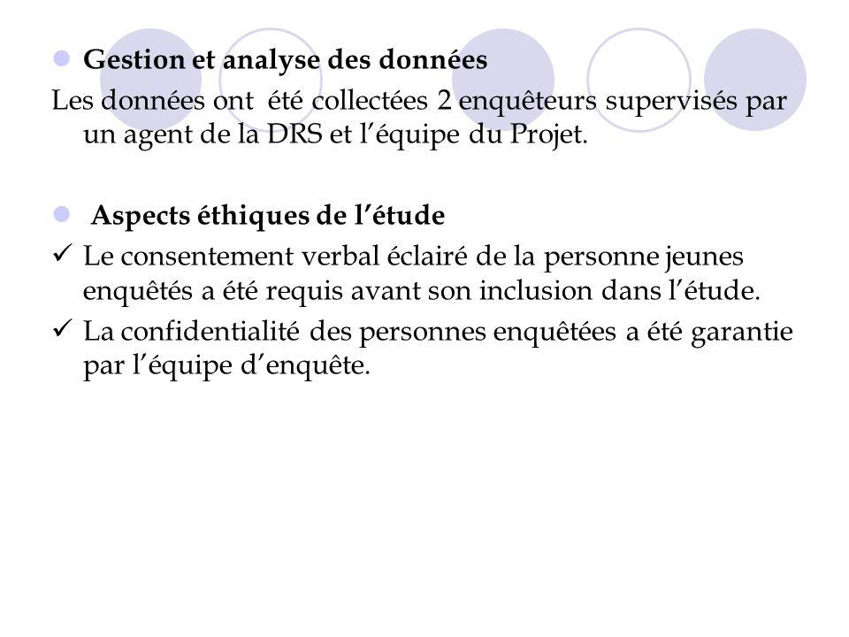 Gestion et analyse des données Les données ont été collectées 2 enquêteurs supervisés par un agent de la DRS et léquipe du Projet.