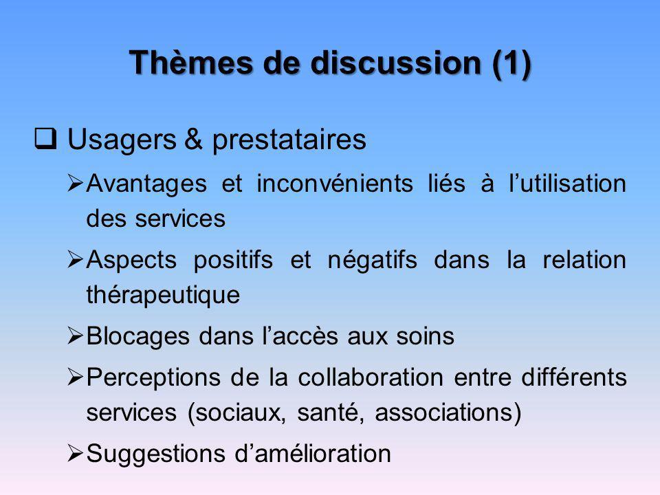 Thèmes de discussion (1) Usagers & prestataires Avantages et inconvénients liés à lutilisation des services Aspects positifs et négatifs dans la relat