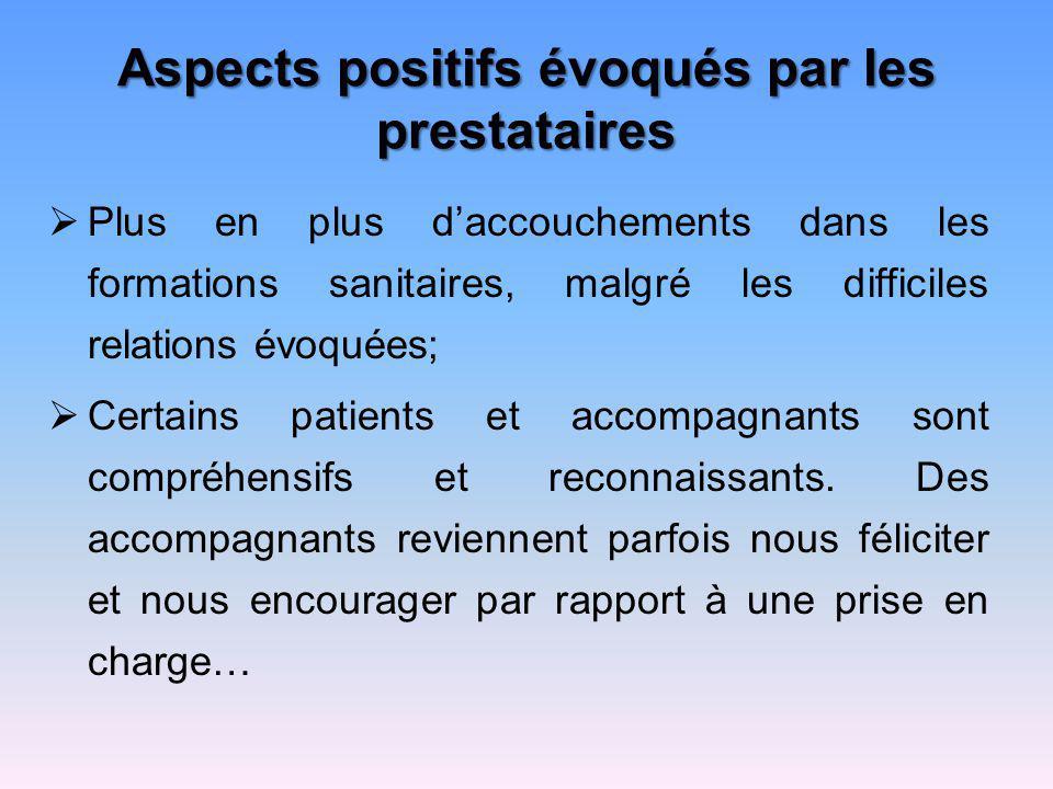 Aspects positifs évoqués par les prestataires Plus en plus daccouchements dans les formations sanitaires, malgré les difficiles relations évoquées; Ce