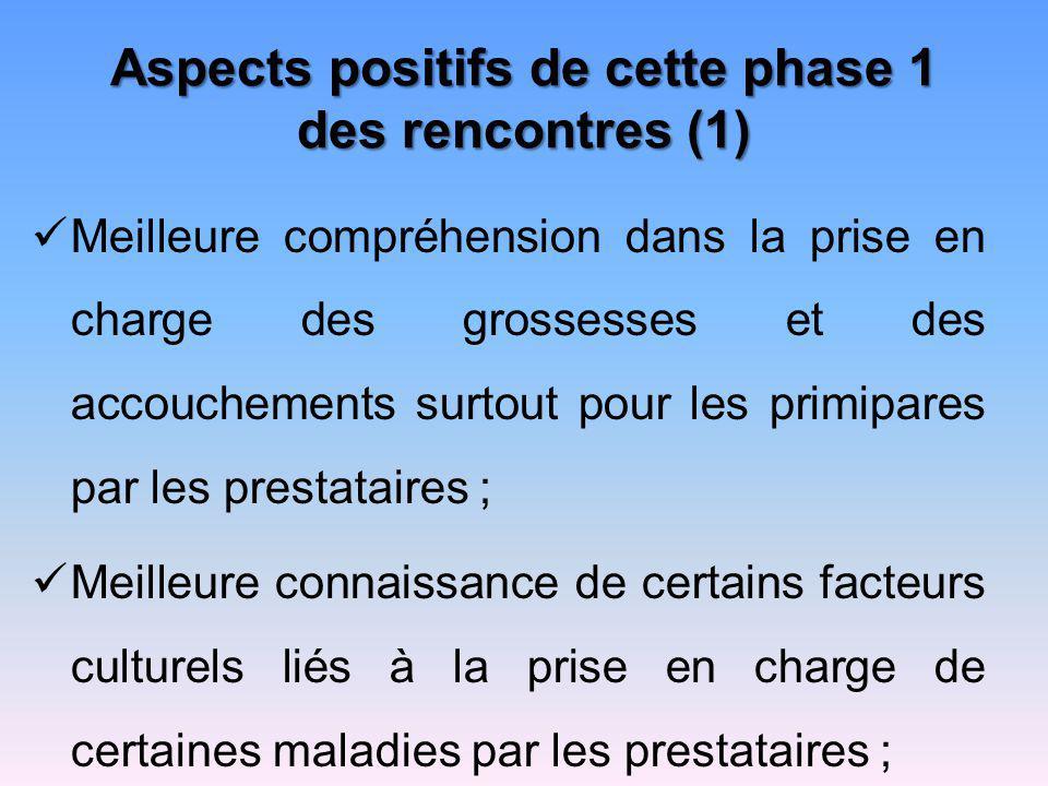 Aspects positifs de cette phase 1 des rencontres (1) Meilleure compréhension dans la prise en charge des grossesses et des accouchements surtout pour