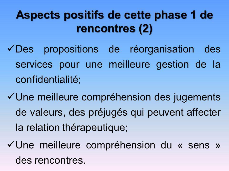 Aspects positifs de cette phase 1 de rencontres (2) Des propositions de réorganisation des services pour une meilleure gestion de la confidentialité;