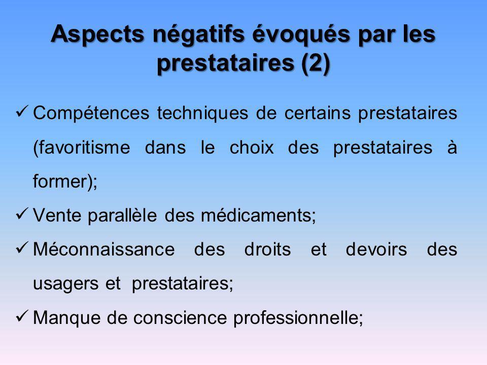 Aspects négatifs évoqués par les prestataires (2) Compétences techniques de certains prestataires (favoritisme dans le choix des prestataires à former