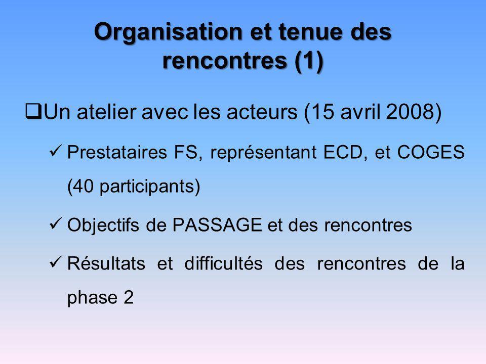 Organisation et tenue des rencontres (1) Un atelier avec les acteurs (15 avril 2008) Prestataires FS, représentant ECD, et COGES (40 participants) Obj