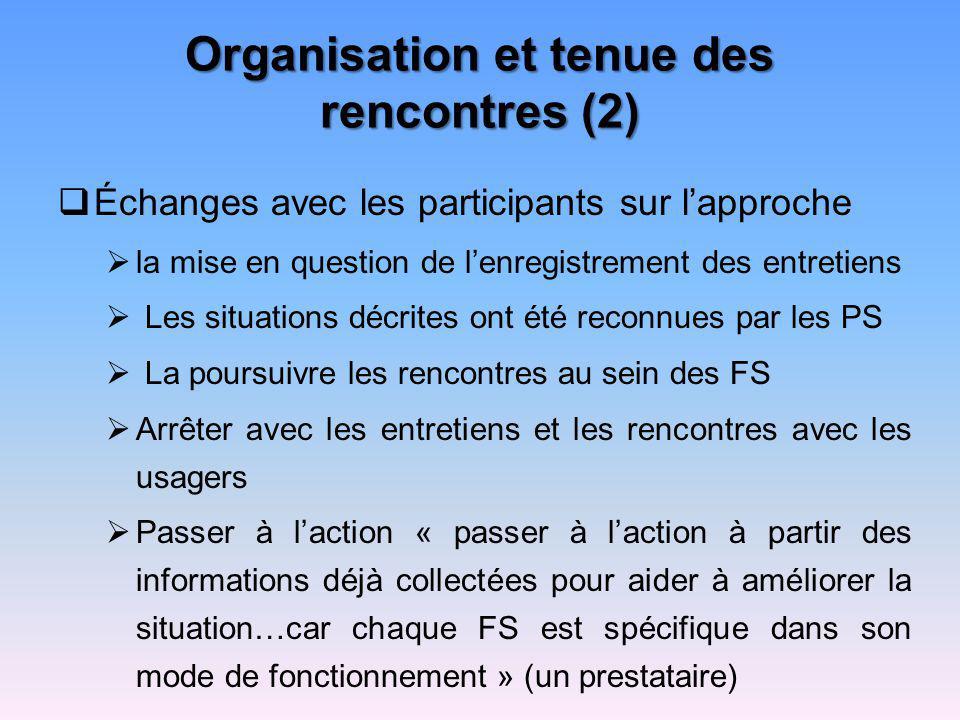 Organisation et tenue des rencontres (2) Échanges avec les participants sur lapproche la mise en question de lenregistrement des entretiens Les situat