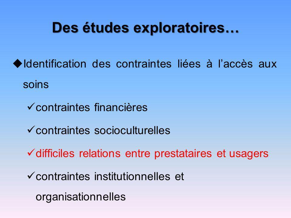 Des études exploratoires… Identification des contraintes liées à laccès aux soins contraintes financières contraintes socioculturelles difficiles rela