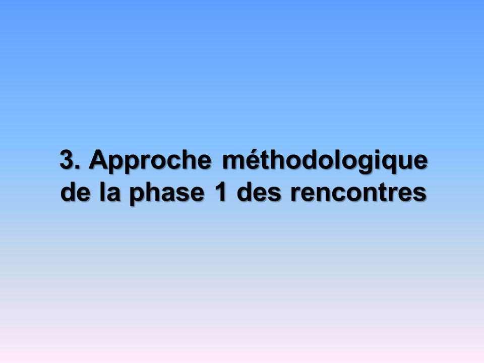 Approche méthodologie de la phase 3 Synthèse des résultats des rencontres précédentes ; Discussion axée sur les problèmes spécifiques à la FS; Identification des actions ou des stratégies en vue daméliorer la qualité relationnelle dans laccès aux services.