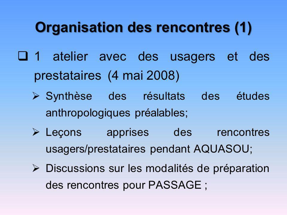 Organisation des rencontres (1) 1 atelier avec des usagers et des prestataires (4 mai 2008) Synthèse des résultats des études anthropologiques préalab