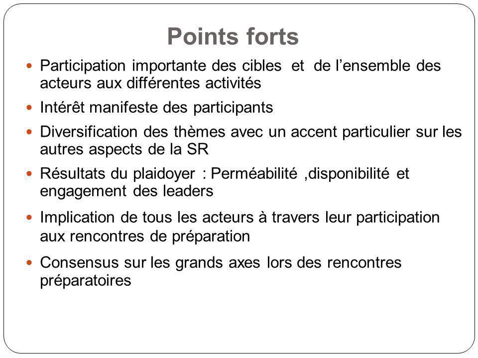 Points forts Participation importante des cibles et de lensemble des acteurs aux différentes activités Intérêt manifeste des participants Diversificat