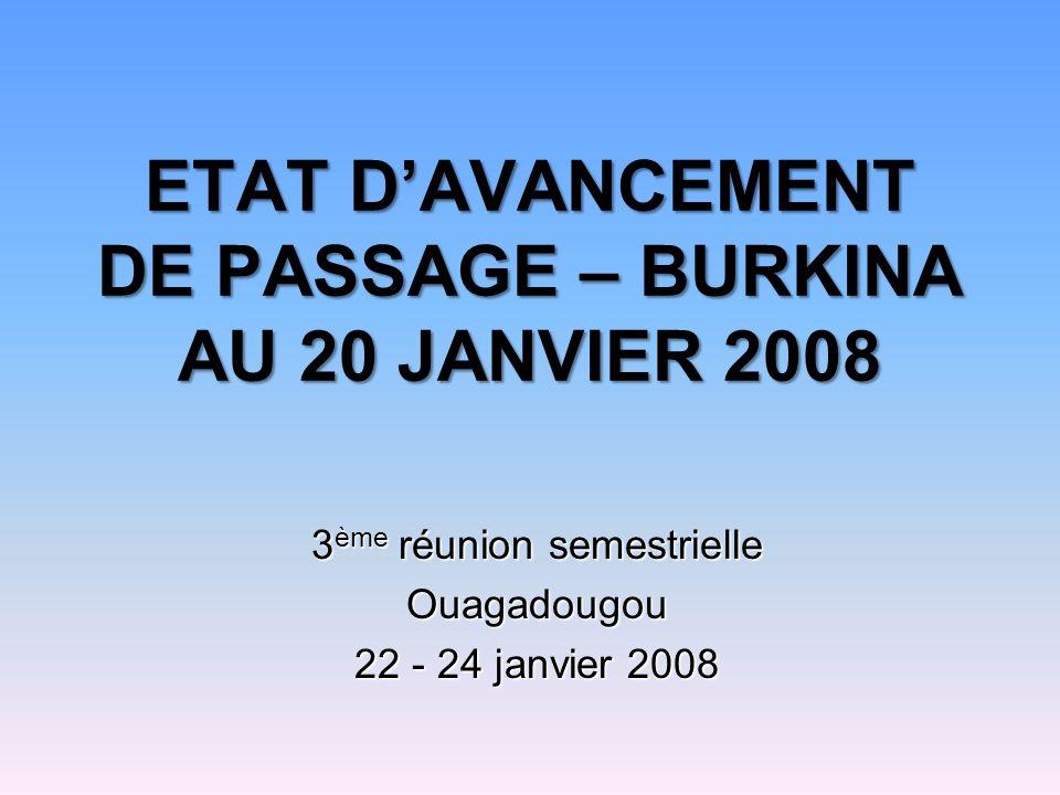 ETAT DAVANCEMENT DE PASSAGE – BURKINA AU 20 JANVIER 2008 3 ème réunion semestrielle Ouagadougou 22 - 24 janvier 2008