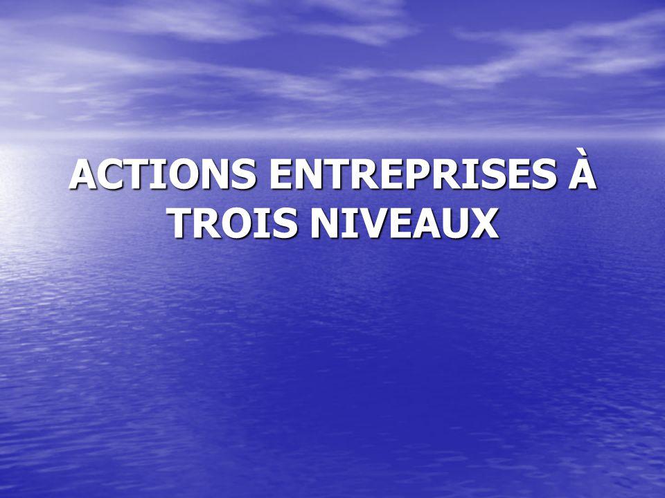 ACTIONS ENTREPRISES À TROIS NIVEAUX