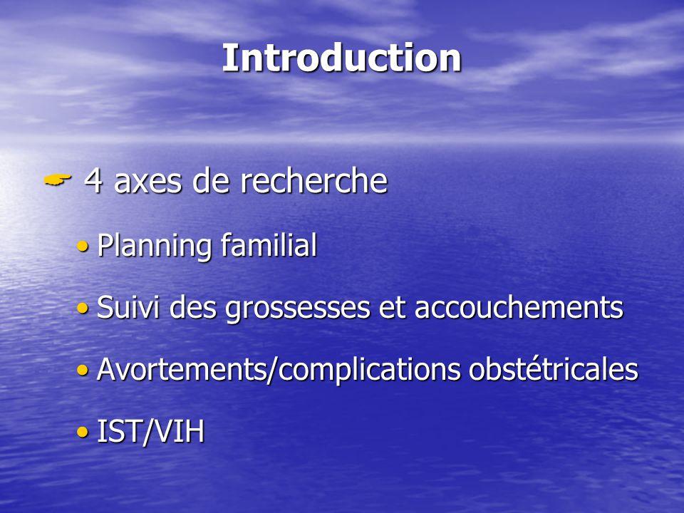 Introduction 4 axes de recherche 4 axes de recherche Planning familialPlanning familial Suivi des grossesses et accouchementsSuivi des grossesses et accouchements Avortements/complications obstétricalesAvortements/complications obstétricales IST/VIHIST/VIH