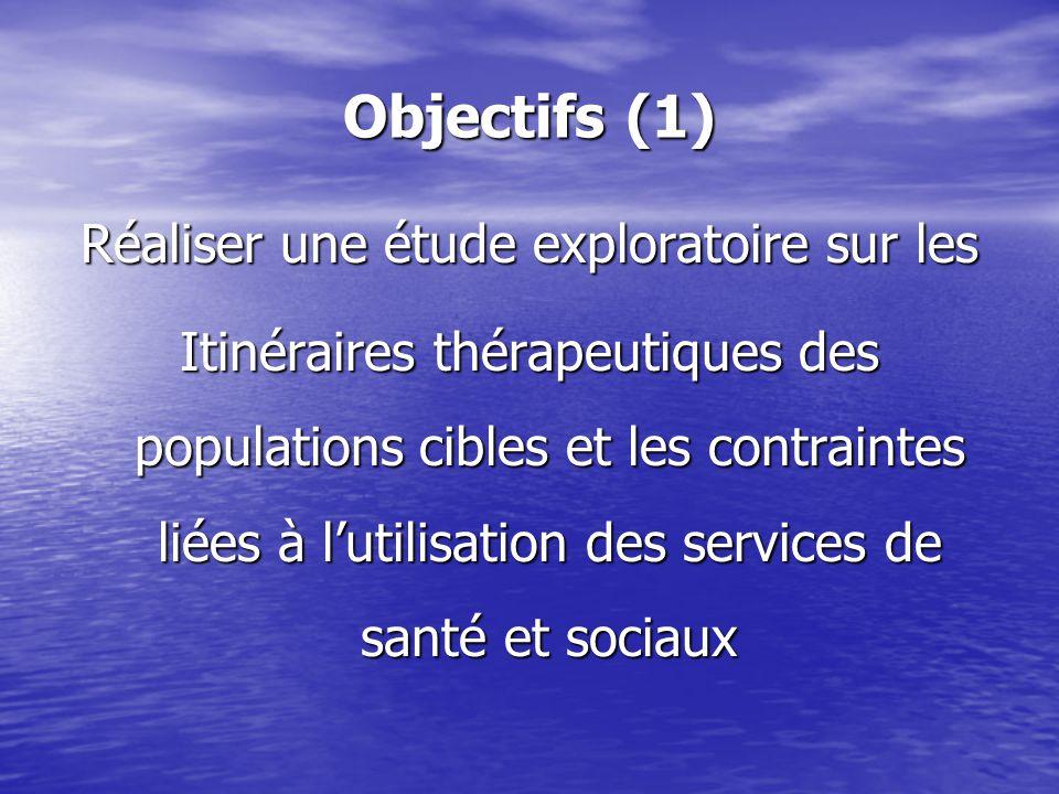 Objectifs (1) Réaliser une étude exploratoire sur les Itinéraires thérapeutiques des populations cibles et les contraintes liées à lutilisation des services de santé et sociaux